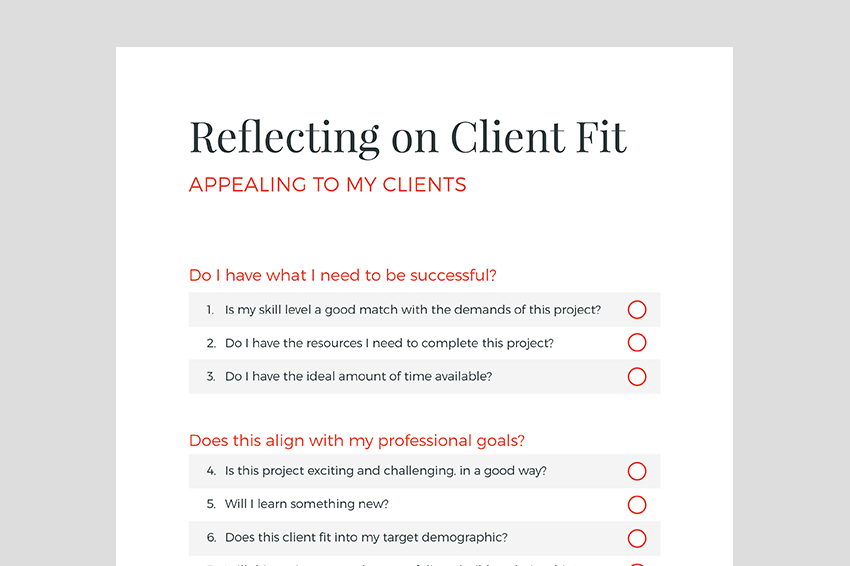 Graphic. Client fit questionnaire preview.