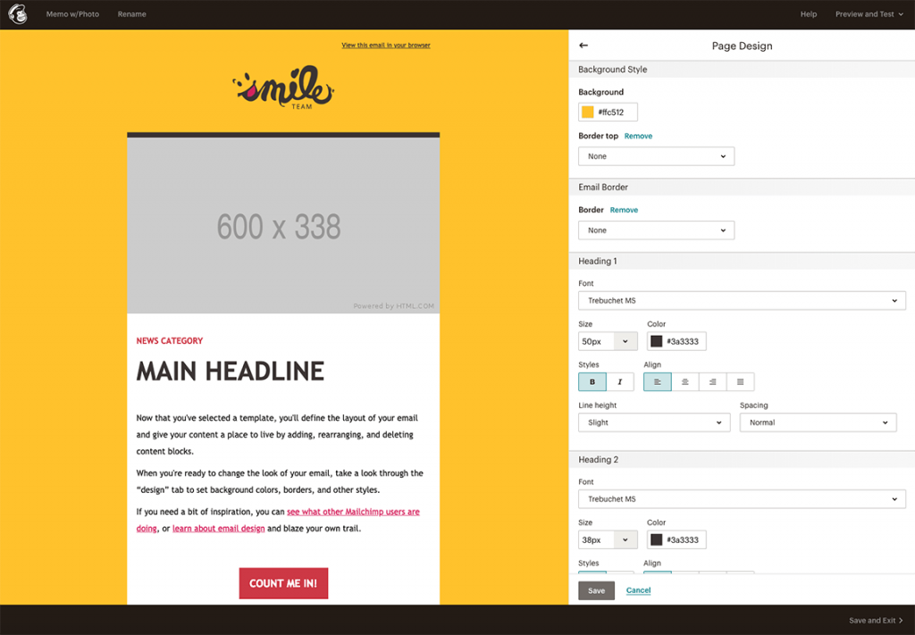 Screenshot. An email template design for Smile Team shown in MailChimp's WYSIWYG editor.