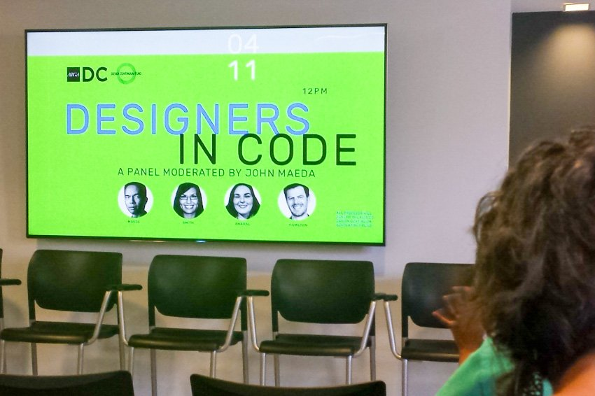 Photo. Opening presentation slide for AIGA DC's panel, Designers in Code, moderated by John Maeda.
