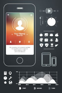 Graphic. White icons, graphs, and buttons appear on a dark background to create a UI kit.