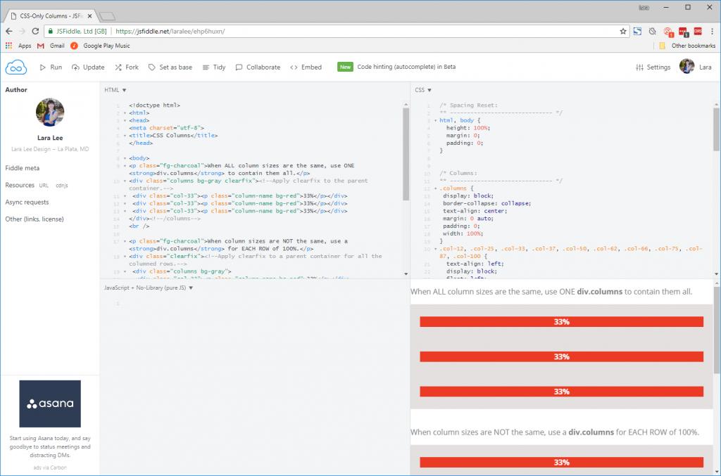 Screenshot. JSFiddle for CSS-only columns.