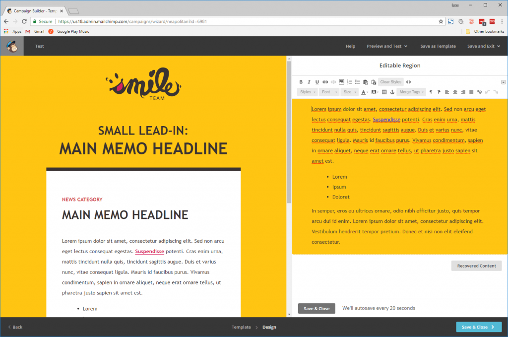 Case study: Smile Team. A screenshot of the MailChimp WYSIWYG email editor using one of the five templates.