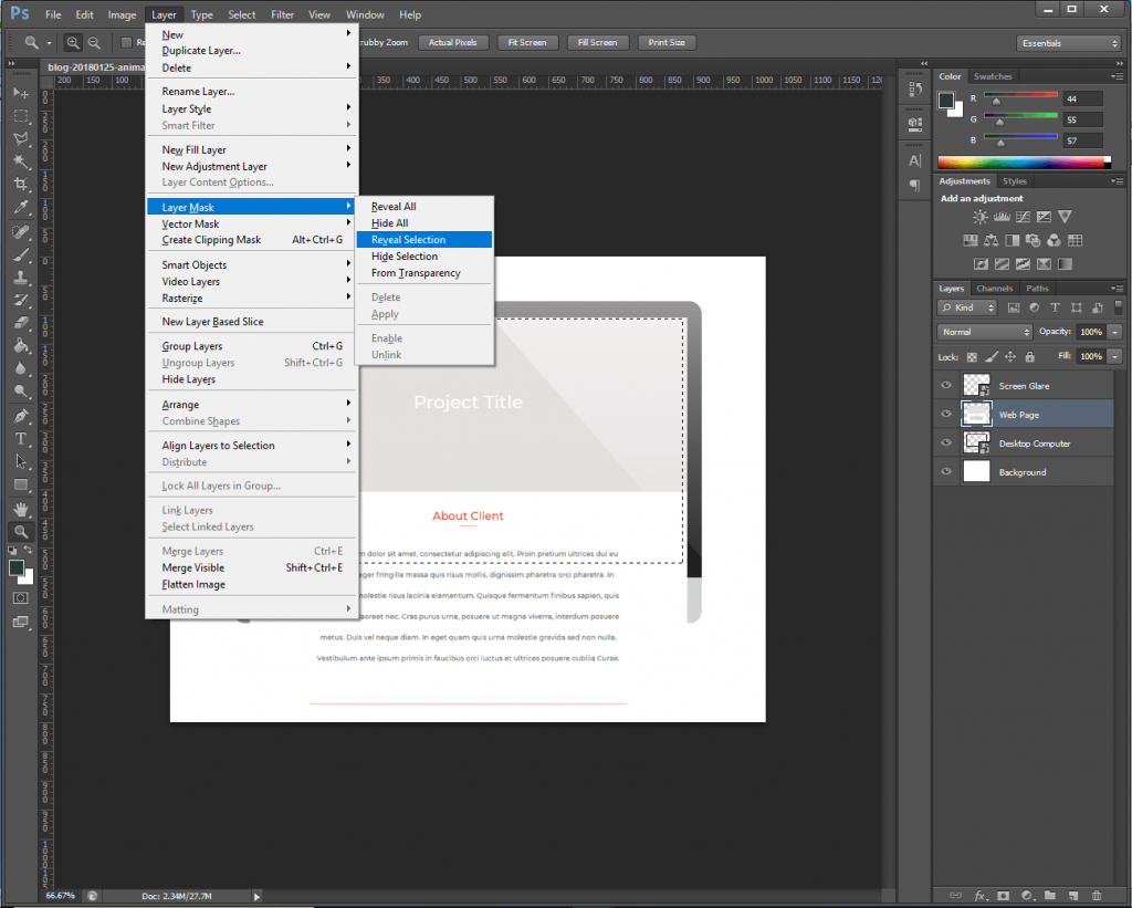 Step 2: Hide the screenshot overflow with a layer mask.