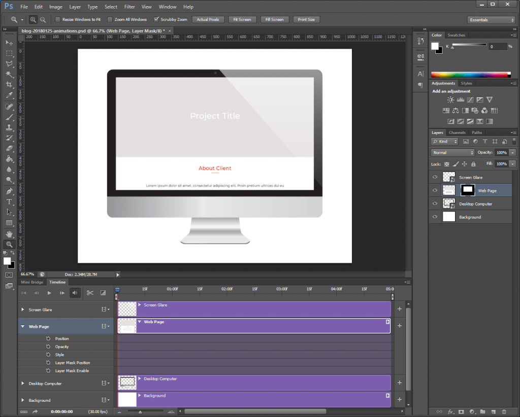 Step 6: Extend the Photoshop animation's purple timelines as needed.