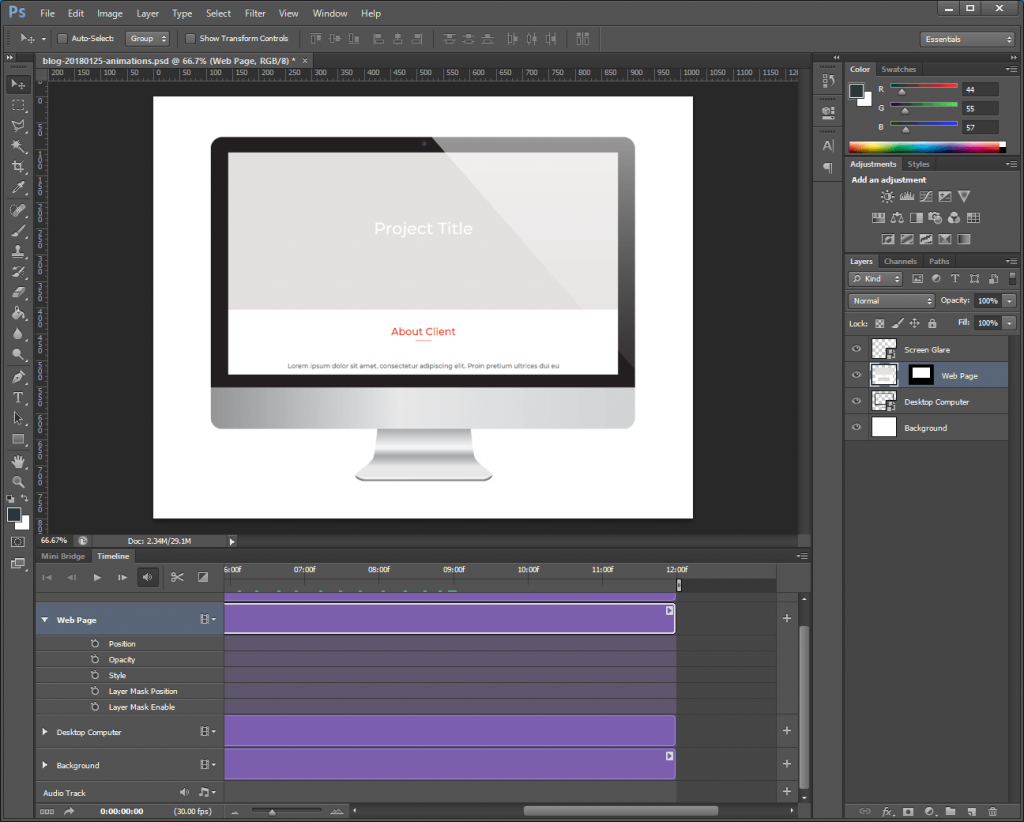 Step 7: Mark the ending keyframe of the first Position tween.