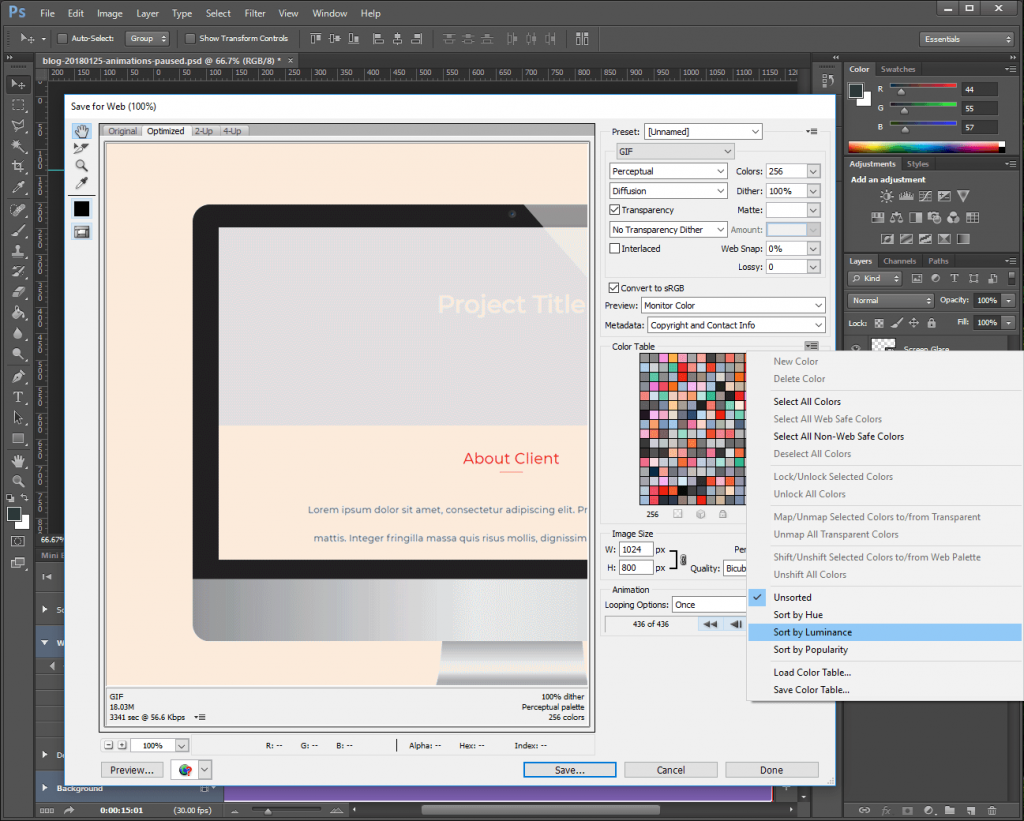 Step 14: Correct any colors in the Photoshop animation GIF.