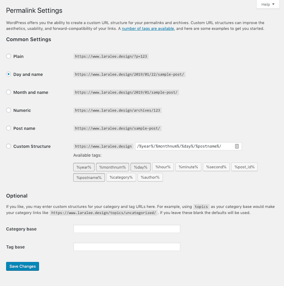 """Screenshot. Click """"Save Changes"""" in the WordPress Permalink Settings to create URLs for posts made with the new Custom Post Type."""