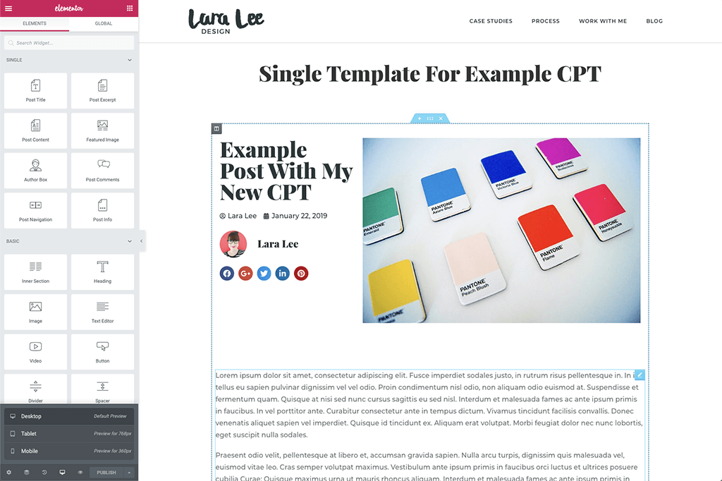 Screenshot. A preview of the finished Custom Post Type single template as shown in Elementor.