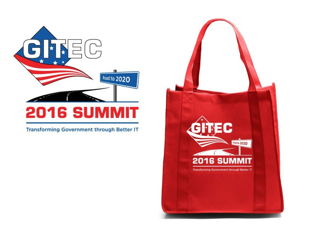 The GITEC 2016 Summit conference identity extends on-site as screen-printed red bags with this year's Summit theme.