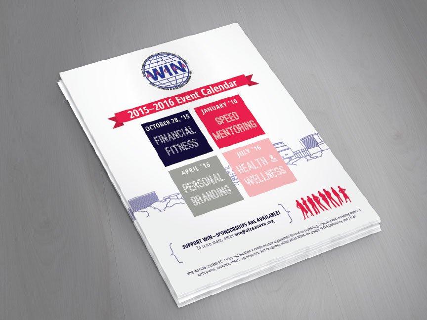 Rebranded event calendar hand-out flyer, front-side only.