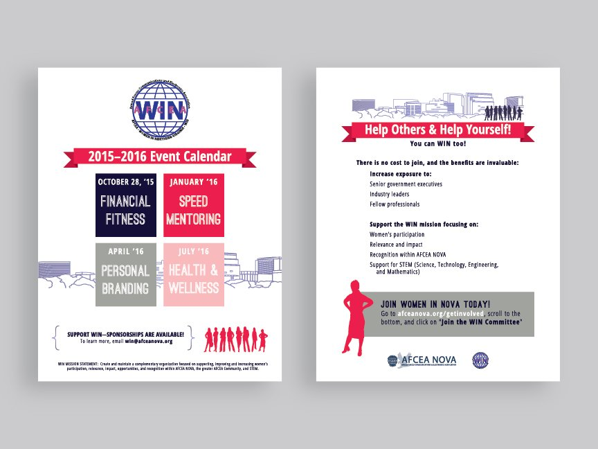 An event calendar hand-out flyer, front and back, from the AFCEA NOVA WIN rebrand.