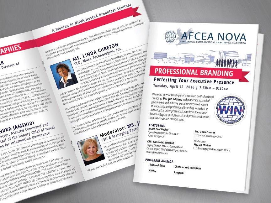 A new bi-fold event program from the AFCEA NOVA WIN rebrand..