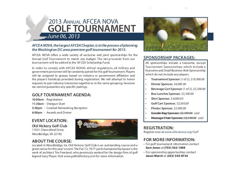 Case study: AFCEA NOVA. 2016 Golf Tournament. Before shot, using an informational hand-out for the 2013 event.