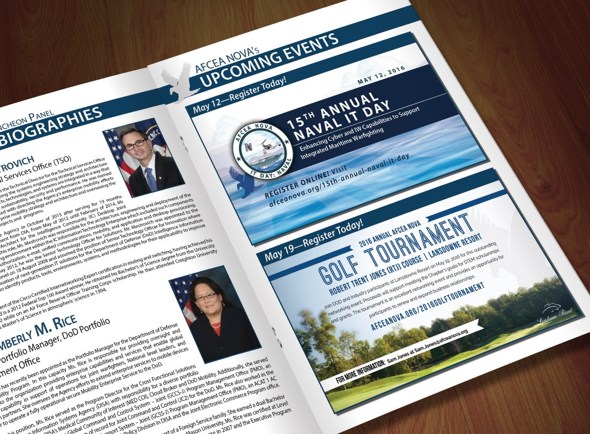 AFCEA NOVA 2016 Golf Tournament refreshed brand as shown in a print ad.