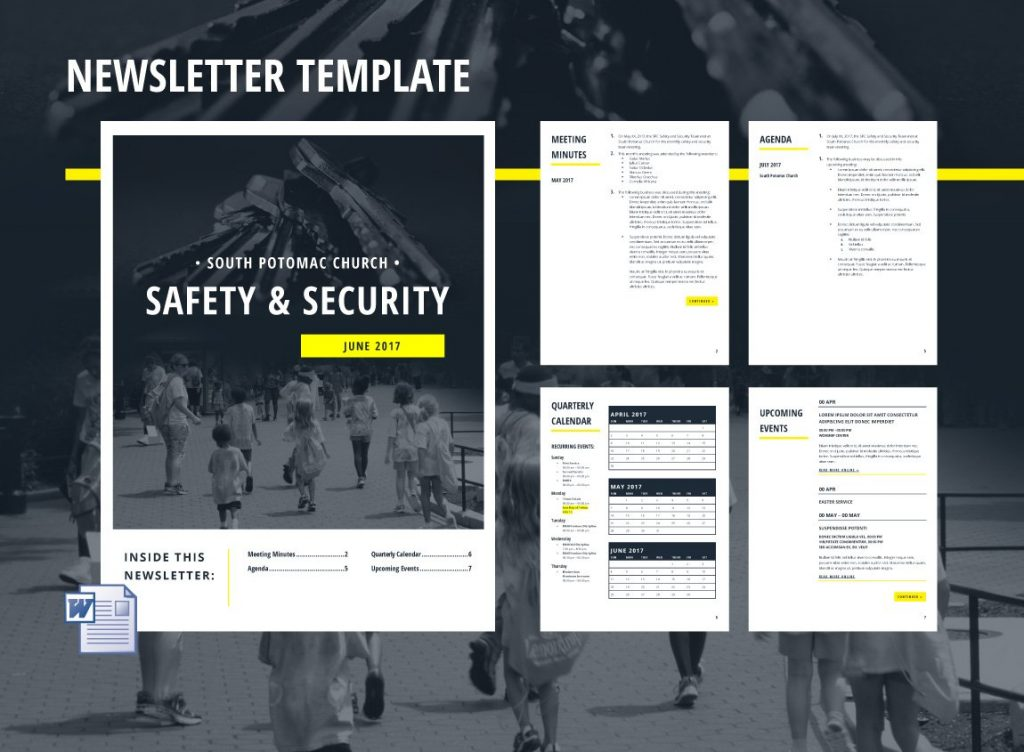 Case study: SPC Safety and Security. Editorial collateral, including this Microsoft Office master template for the newsletter.