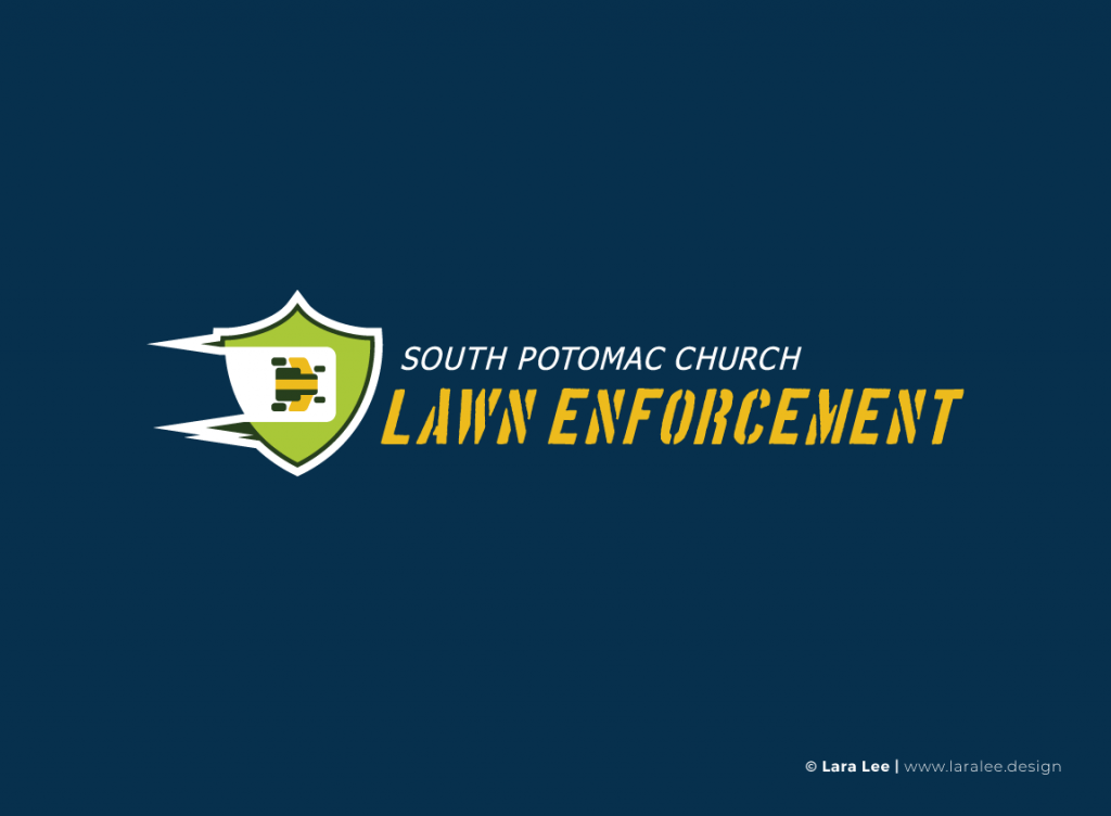 Case study: SPC Lawn Enforcement. Full-color logo design on navy background.