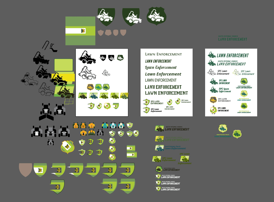 Case study: SPC Lawn Enforcement. Rough concepts for the logo design strewn about my Illustrator work space.