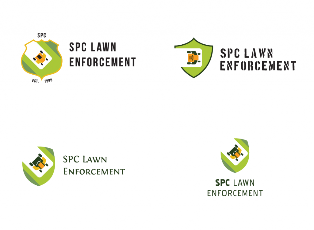 Case study: SPC Lawn Enforcement. Typography placement exploration.