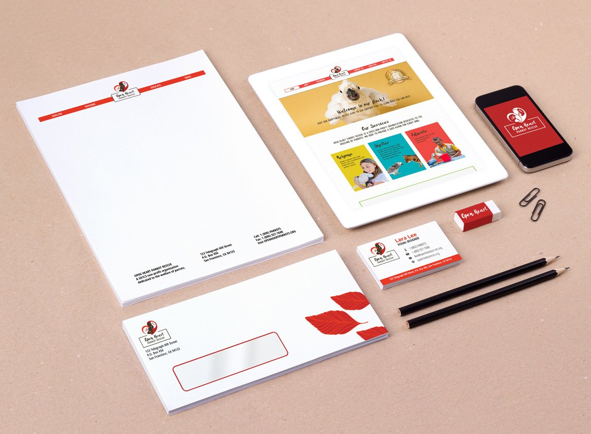 Case study: Open Heart Parrot Rescue, a fictitious organization. Printed collateral and visual identity, including stationery, mobile web designs, envelopes, and business cards.