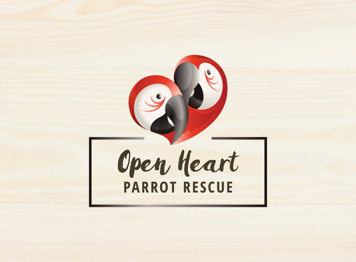 Case study: Open Heart Parrot Rescue, a fictitious organization. Full-color logo design on a photo background.