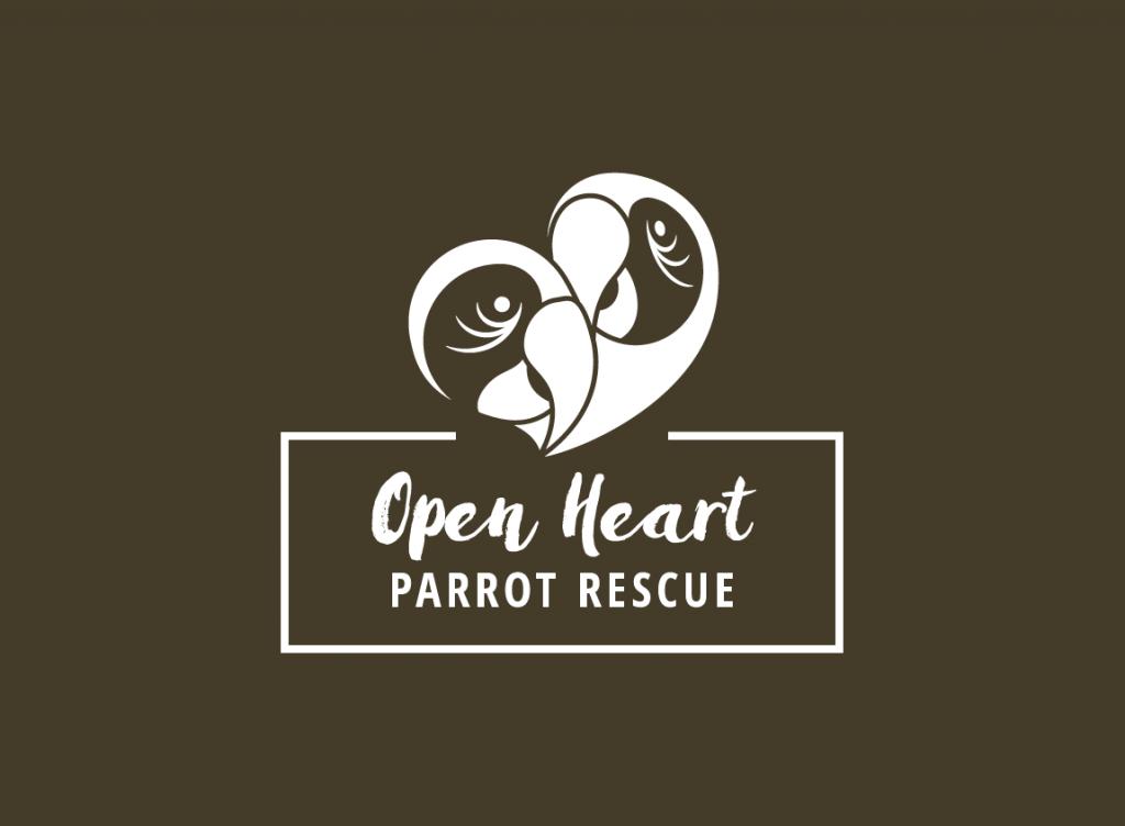 Case study: Open Heart Parrot Rescue, a fictitious organization. One-color logo design.