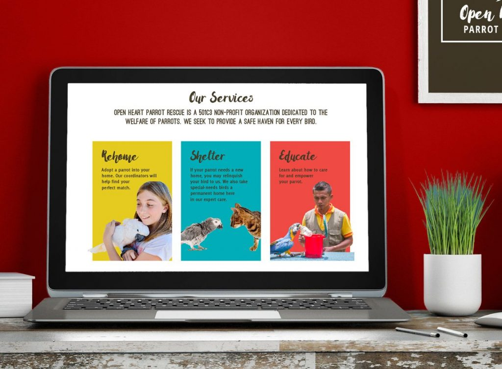 Mockup of the Open Heart Parrot Rescue services web page design.