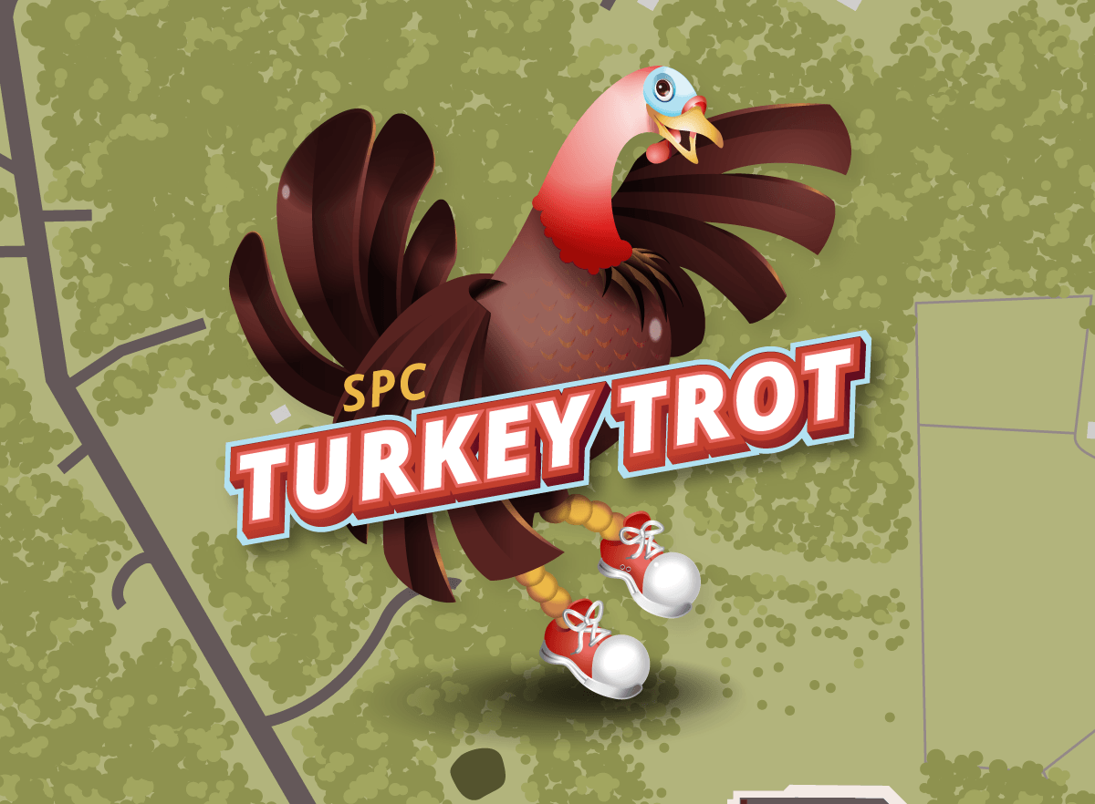 Case study; SPC Turkey Trot. Illustrated turkey mascot appears on an illustration of the aerial view of the course.