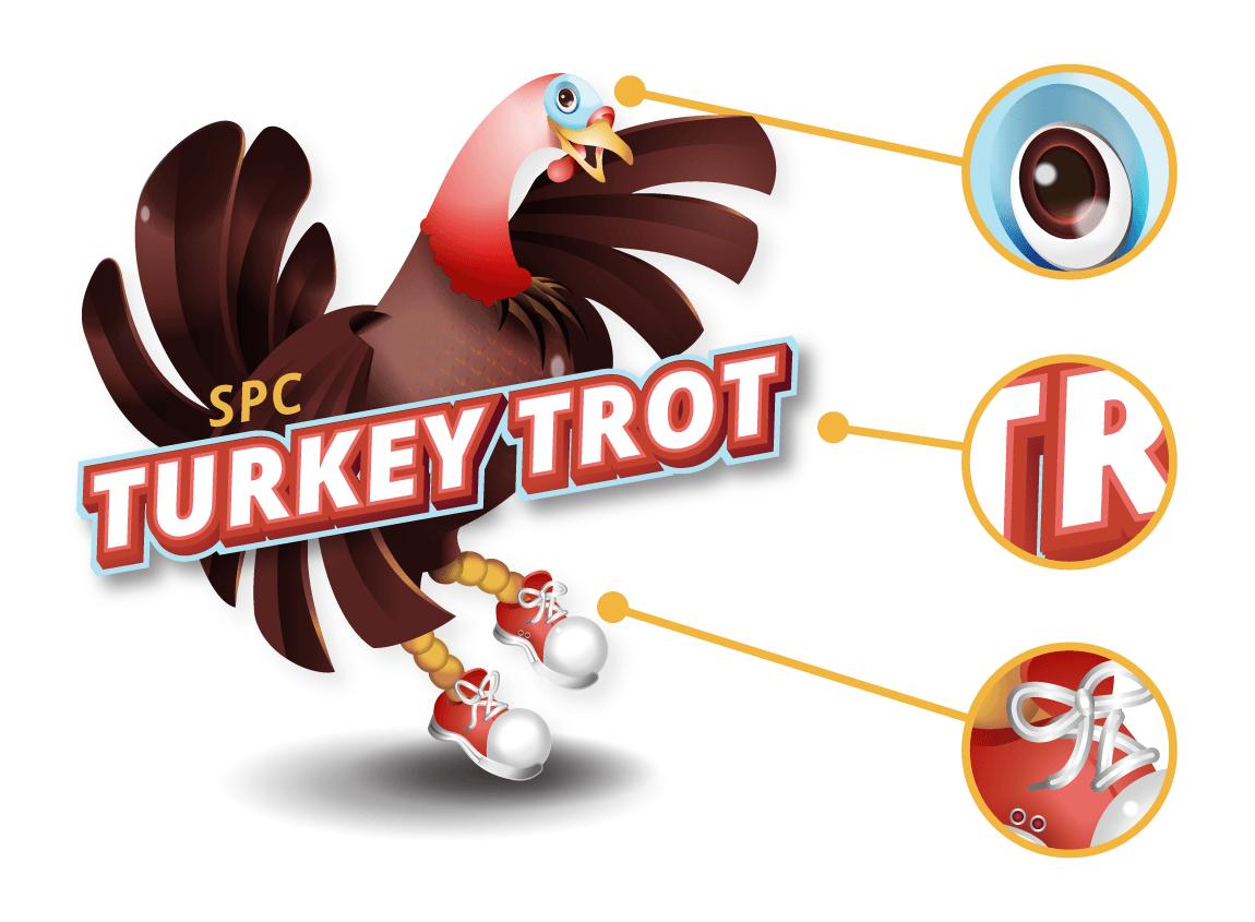 Case study; SPC Turkey Trot. Magnified details of the final SPC Turkey Trot logo design.