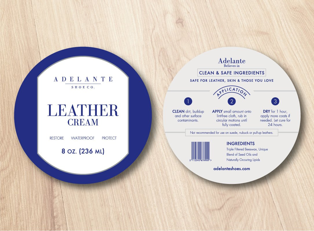 Case study: Adelante Shoe Co. The after shot of the branded packaging label design.