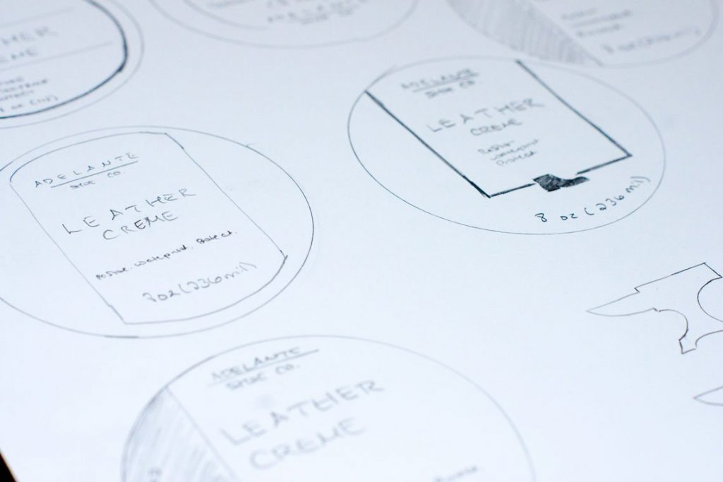 Case study: Adelante Shoe Co. Initial packaging design sketches.