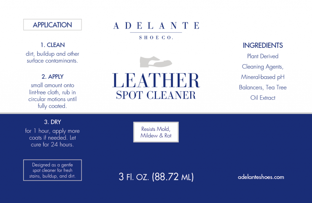 Case study: Adelante Shoe Co. Packaging label design for a leather spot cleaner.