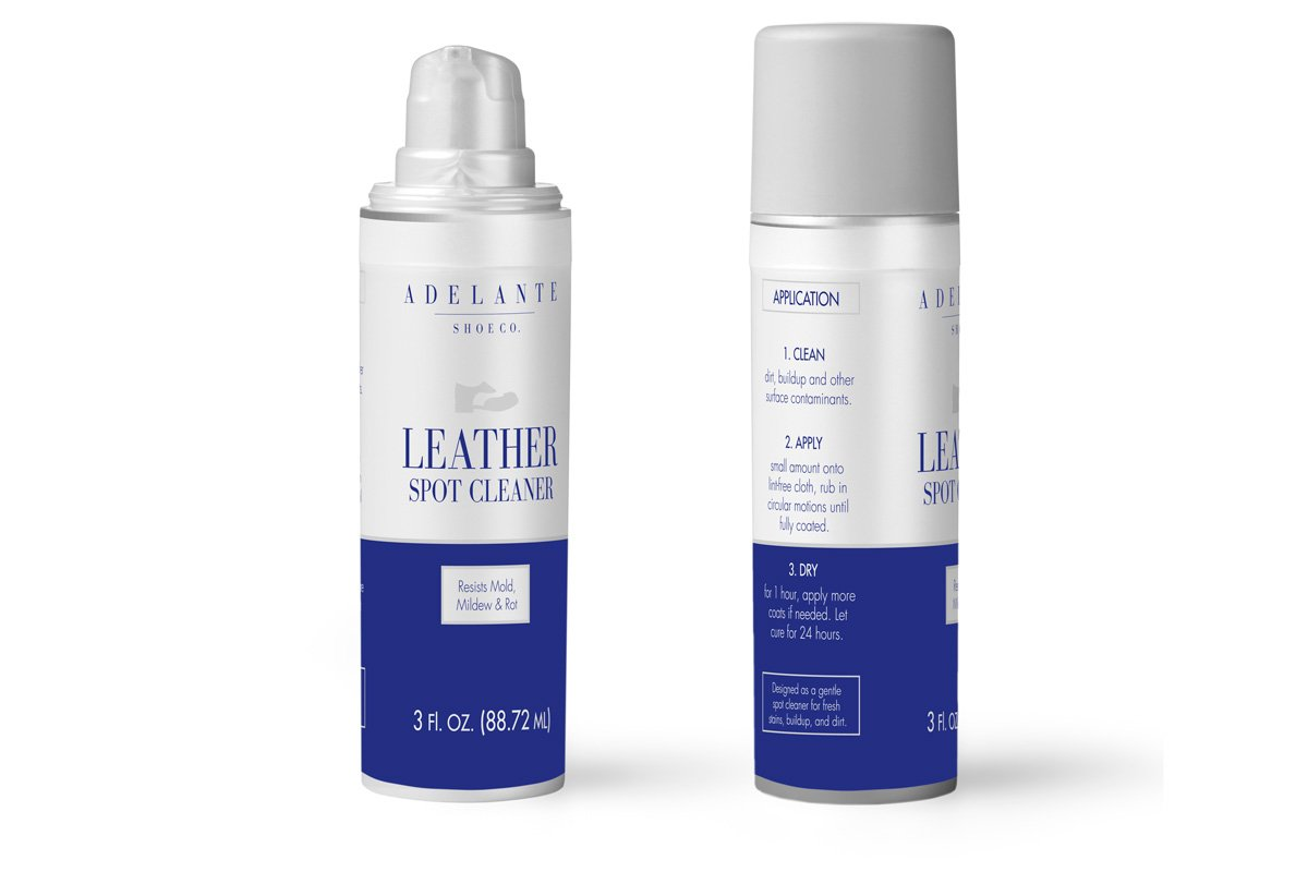 Case study: Adelante Shoe Co. Packaging label design mock-up of a spot leather cleaner.