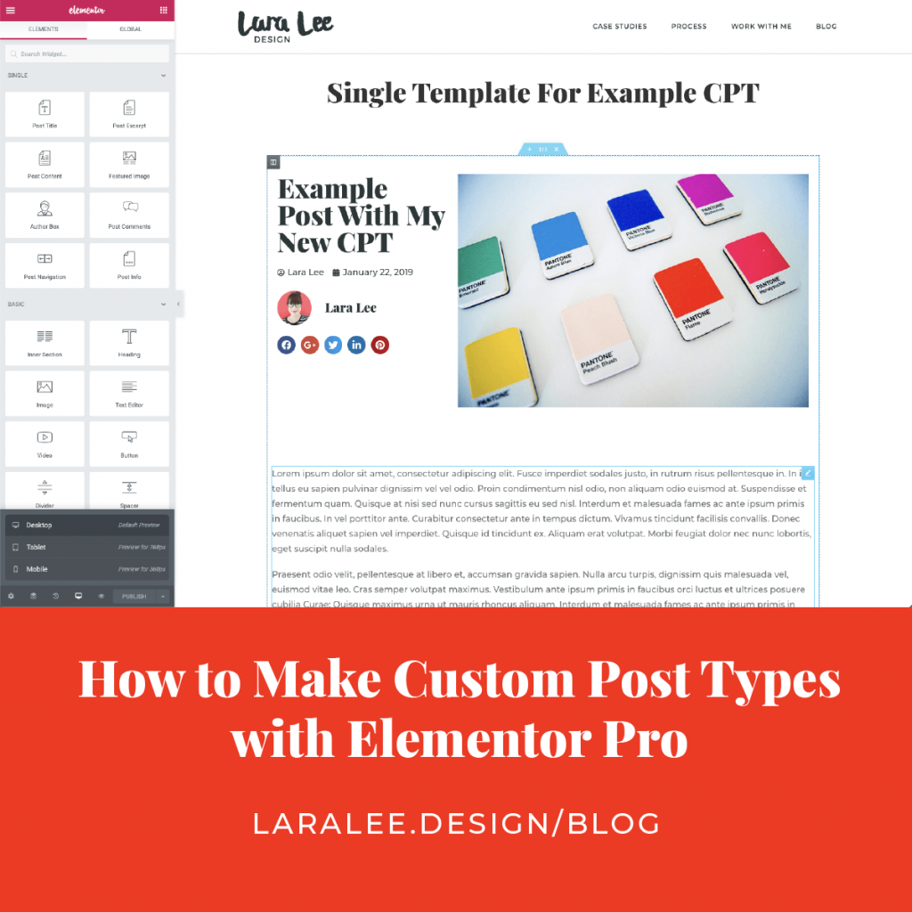 Lara Lee Design | How to Make Custom Post Types with Elementor Pro, Learn More >