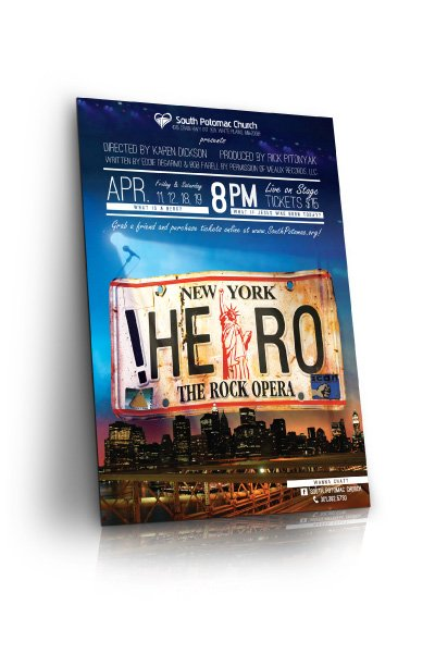 A poster mock-up of SPC's HERO The Rock Opera.