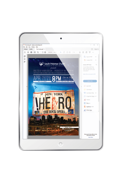A PDF proof of the poster from SPC's HERO The Rock Opera shown on a tablet.