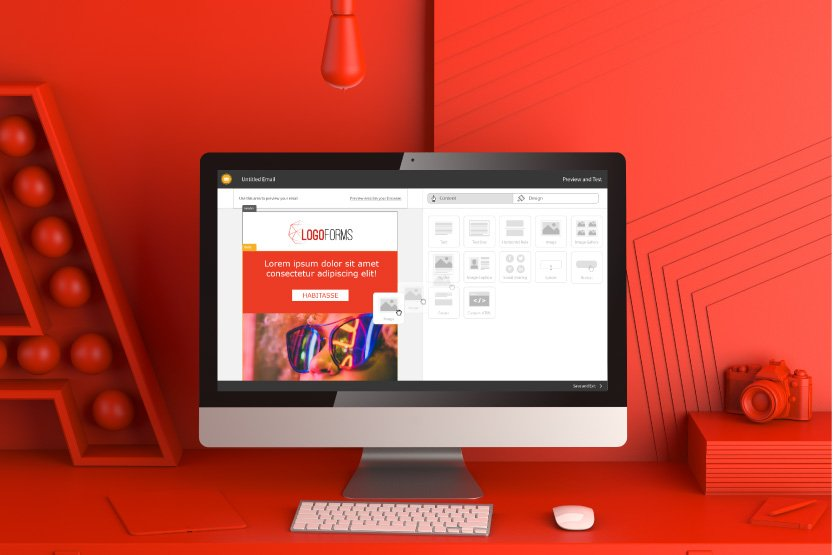 Photo. Designing for Digital vs. Print: desktop computer displays a web design.