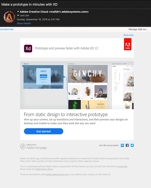 Screenshot. Example of web fonts in emails from Adobe Creative Cloud.