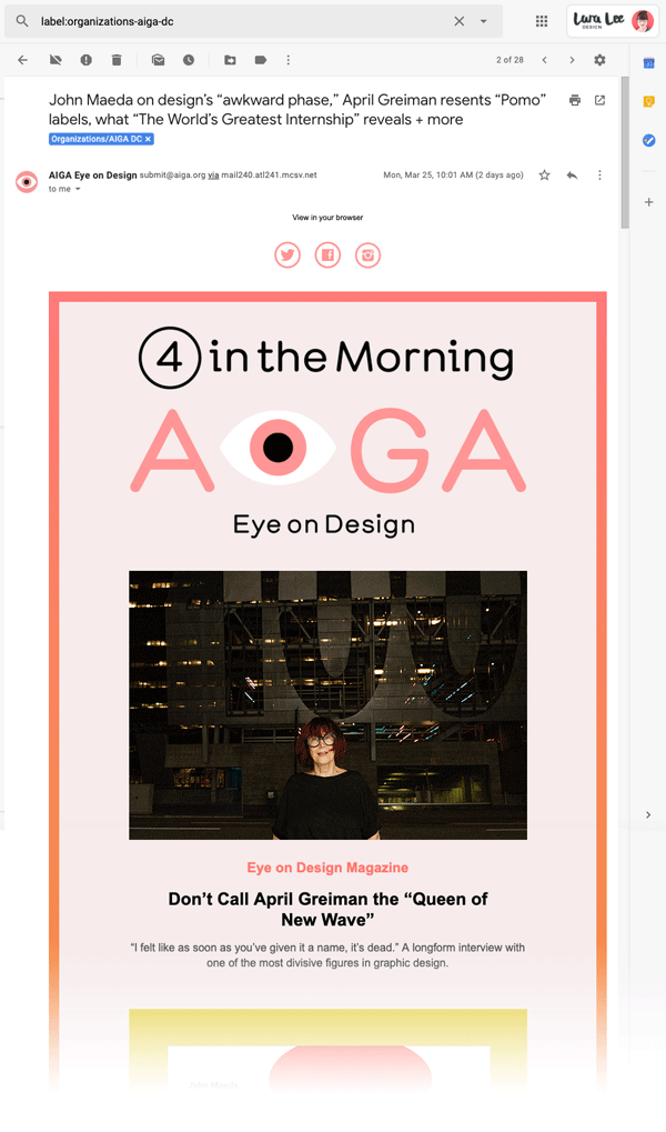 Screenshot. Example of web fonts in emails from AIGA DC Eye on Design.