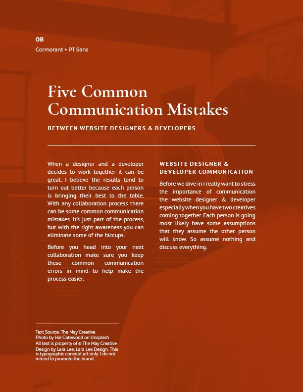 Typographic concept art for modern font pairings. Cormorant + PT Sans.