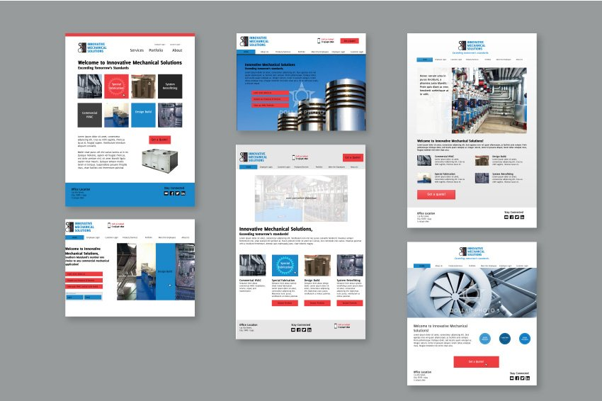 Six mock-ups for the homepage design of the website for Innovative Mechanical Systems (IMS).
