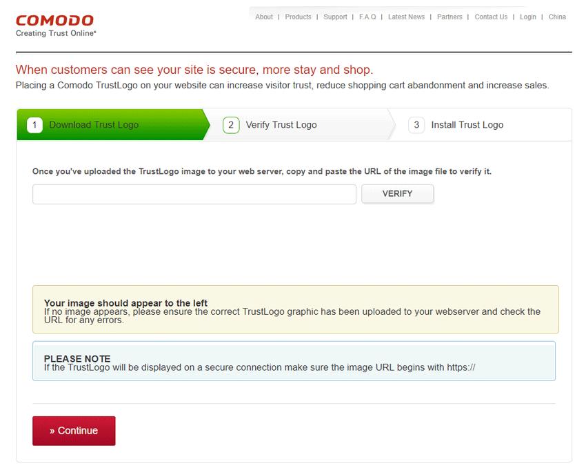 Screenshot. Certificate Authority (CA) Comodo verifies the image URL of its trust logo SSL seal on your website.
