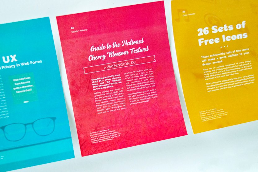 Photo. Colorful posters of various font pairing designs.