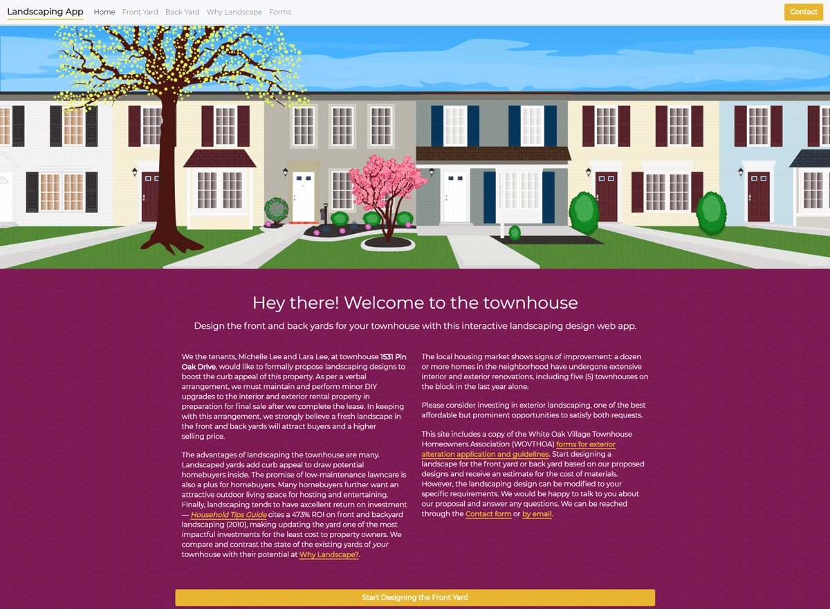 Case Study: Townhouse Landscape Web App. Screenshot of the live home page design.