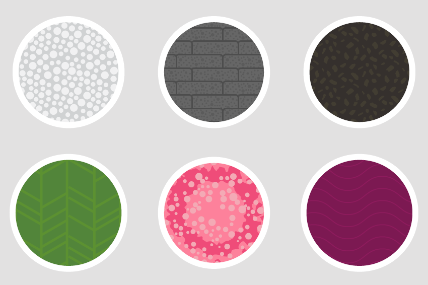 Texture and pattern swatches.