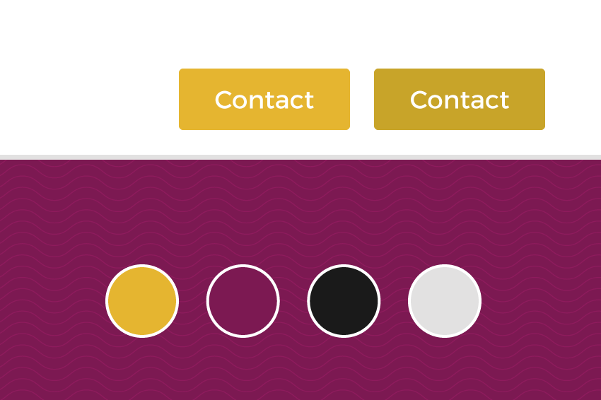 Style tile for the web design including primary palette and mocked-up UI buttons.