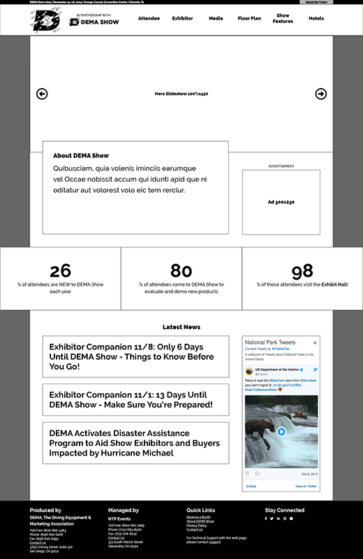The final wireframe for DEMA Show 2019 trade show website reskin is more condensed.