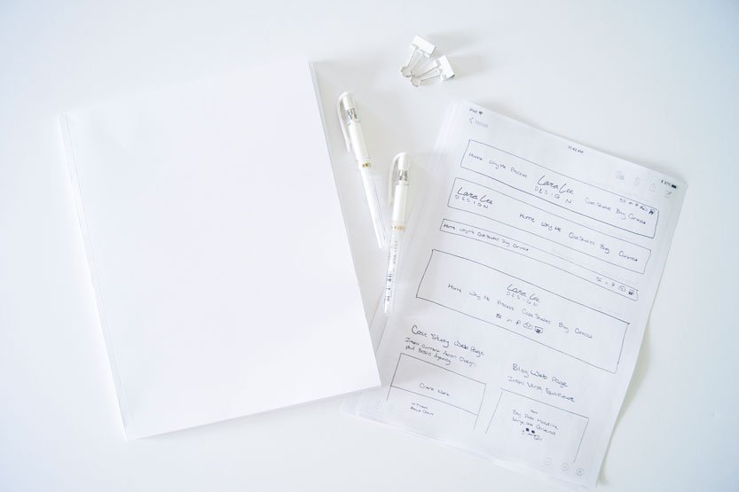 Photo. A blank piece of white paper lays on the desk beside sketches of website navbar wireframes.