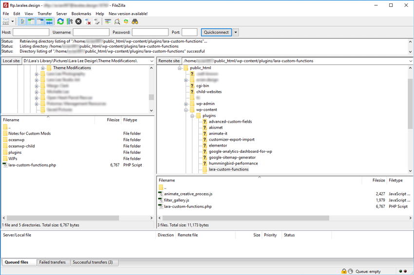 Screenshot. FileZilla. A custom functions plug-in appears in the web server.