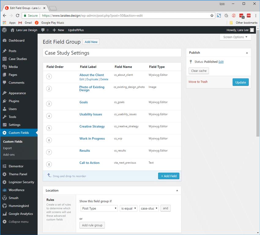 Screenshot. Lara Lee Design WordPress. The Case Study Settings field group has several custom fields with varying field types.