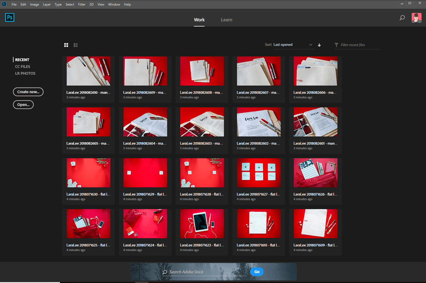 Screenshot. The Open screen of Photoshop CC shows a collection of recently opened and resized photos.